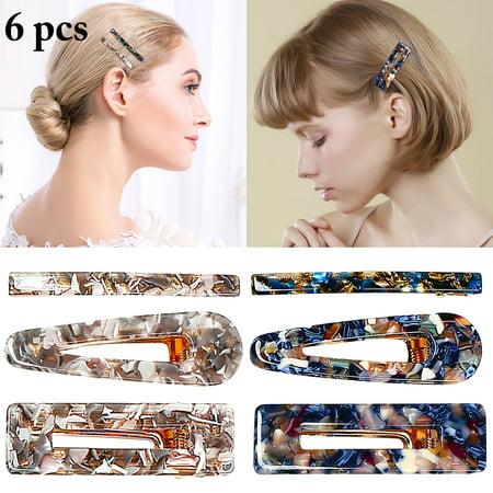 6PCS Hair Clips, Aniwon Creative Vintage Simple Acetate Hair Pin Barrettes Bows Clios Hair Accessories for Women Girls