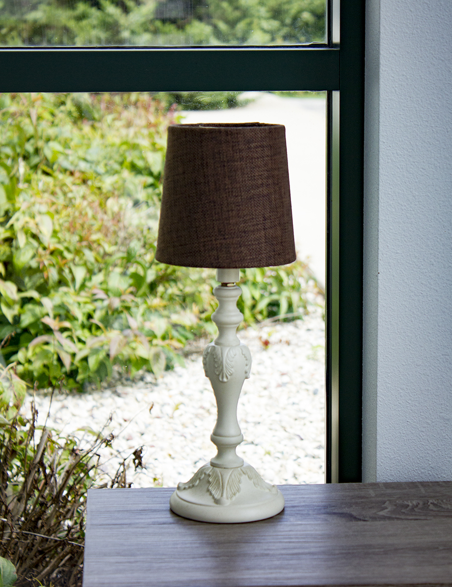 Bingley Beige Accent Table Lamp Base by Laura Ashley with Drum Chandelier Clip-On Chocolate Burlap Shade by Laura Ashley