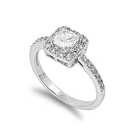 CHOOSE YOUR COLOR White CZ Square Solitaire Modern Ring New .925 Sterling Silver Band