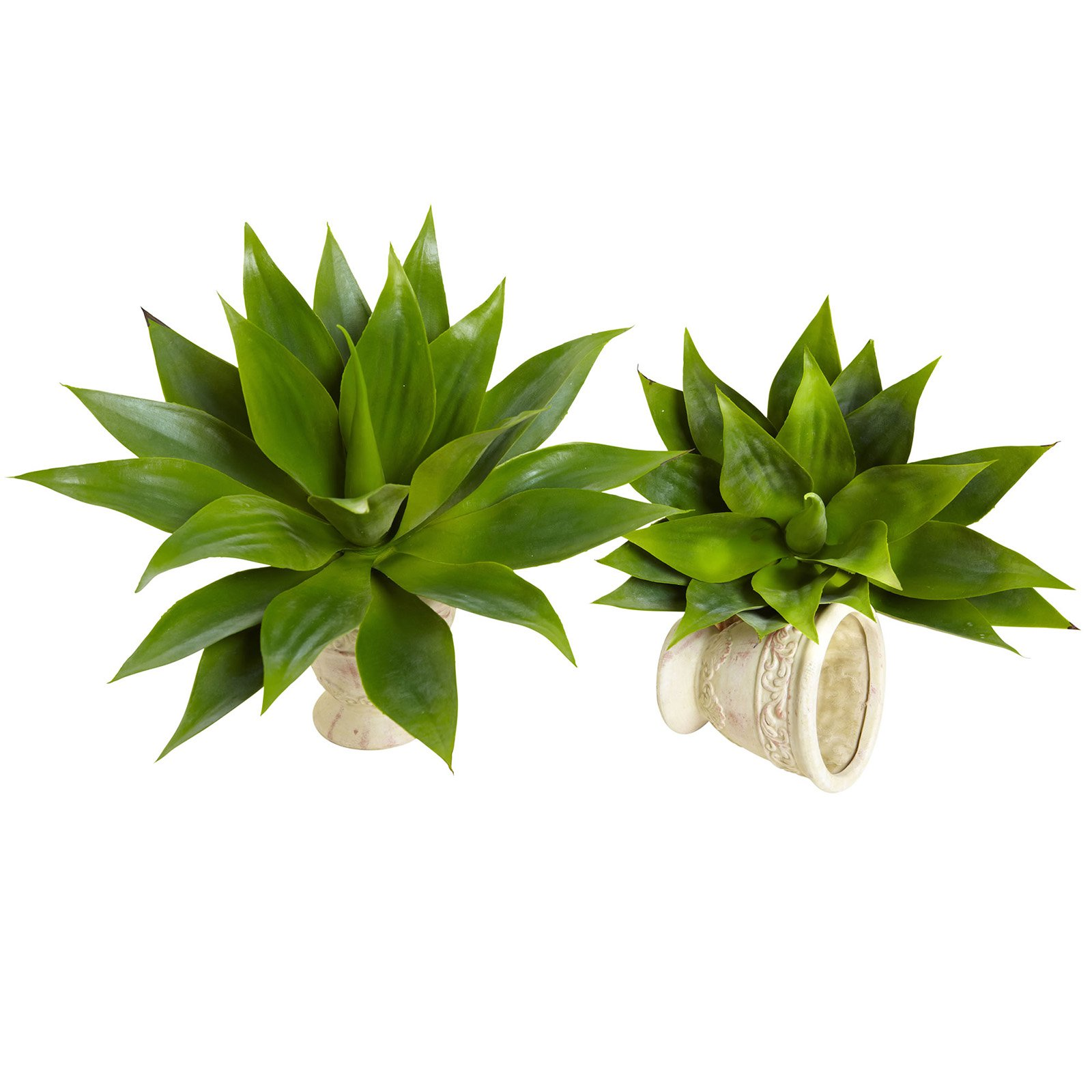 Nearly Natural Agave Succulent Silk Plant - Set of 2