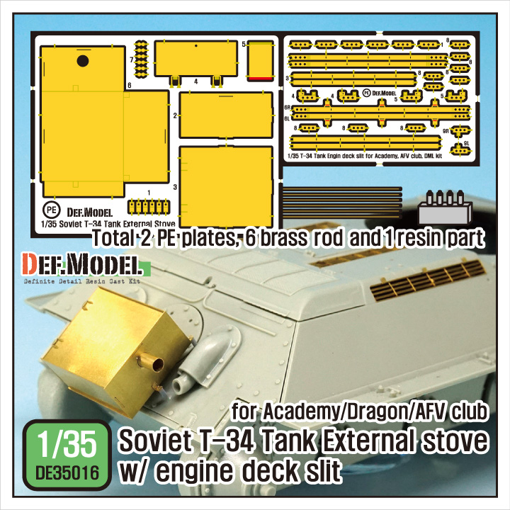 DEF Model 1:35 T-34 External Stove Engine Deck Slit for Aca Dragon AFV #