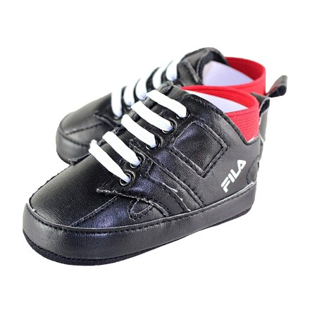 Fila Infant Black PU Leather High Top Sneaker Crib Shoe (9-12 Months)