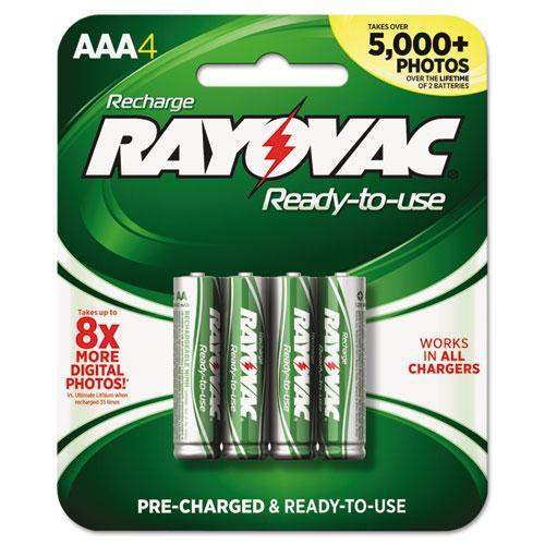 Rayovac Platinum Rechargeable AAA NiMH Battery, 4/Pack