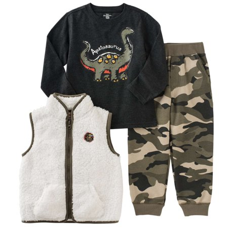 kids headquarters infant toddler boys 3p outfit vest dino shirt camo pants (Jordan Toddler Outfit)