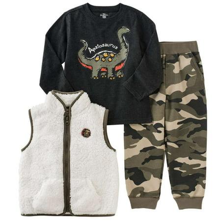 kids headquarters infant toddler boys 3p outfit vest dino shirt camo pants