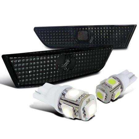 Spec-D Tuning 2003-2007 Infiniti G35 2Dr Smoke Side Marker Bumper Lights + White T10 Led Bulbs (Left + Right) 2003 2004 2005 2006 (G35 Light Bulbs)