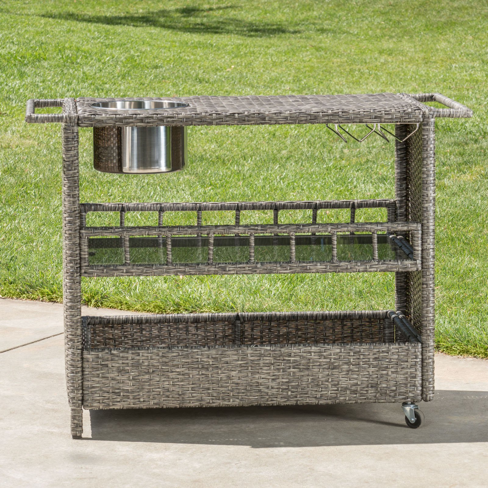 Puerta Outdoor Wicker Bar Cart