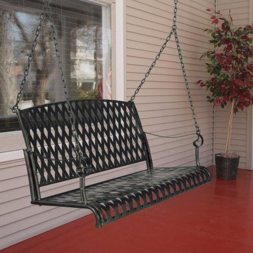 International Caravan Wrought Iron Diamond Lattice Porch Swing Set