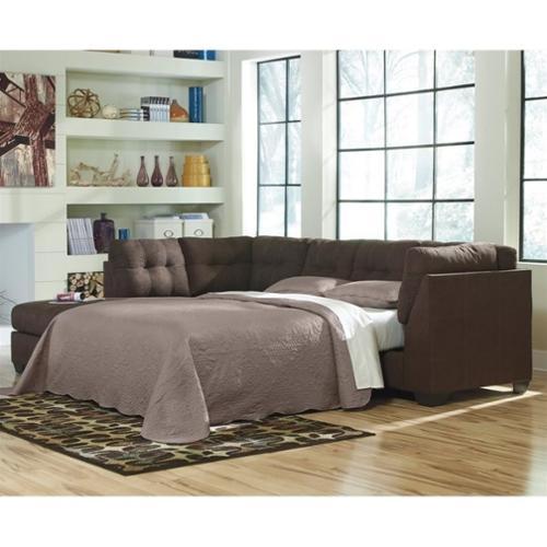 Ashley Maier 2 Piece Left Fabric Chaise Sleeper Sectional in Walnut Walmart