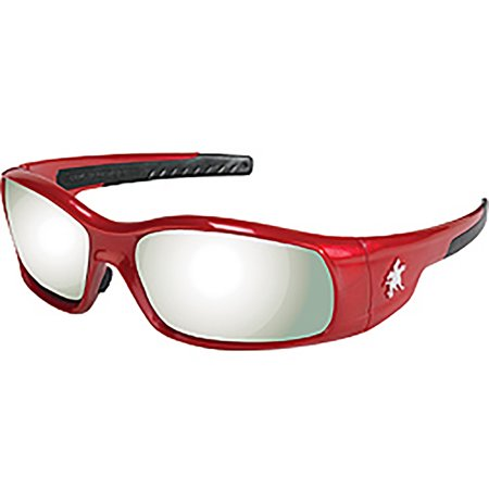 MCR Safety Crews SR137 Swagger Brash Look Polycarbonate Dual Lens Glasses with Crimson (Best Looking Safety Glasses)