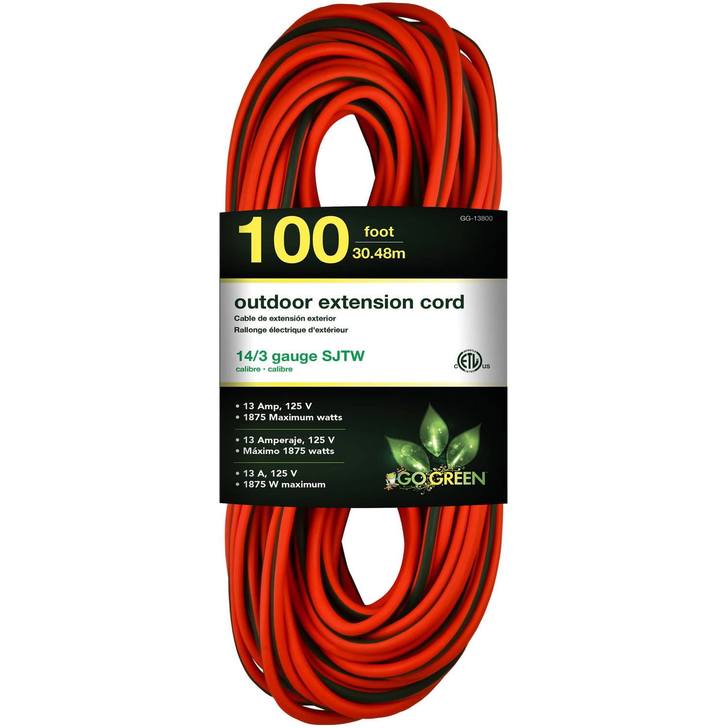 GoGreen Power 14/3 100' GG-13800 Heavy Duty Extension Cord, Lighted End