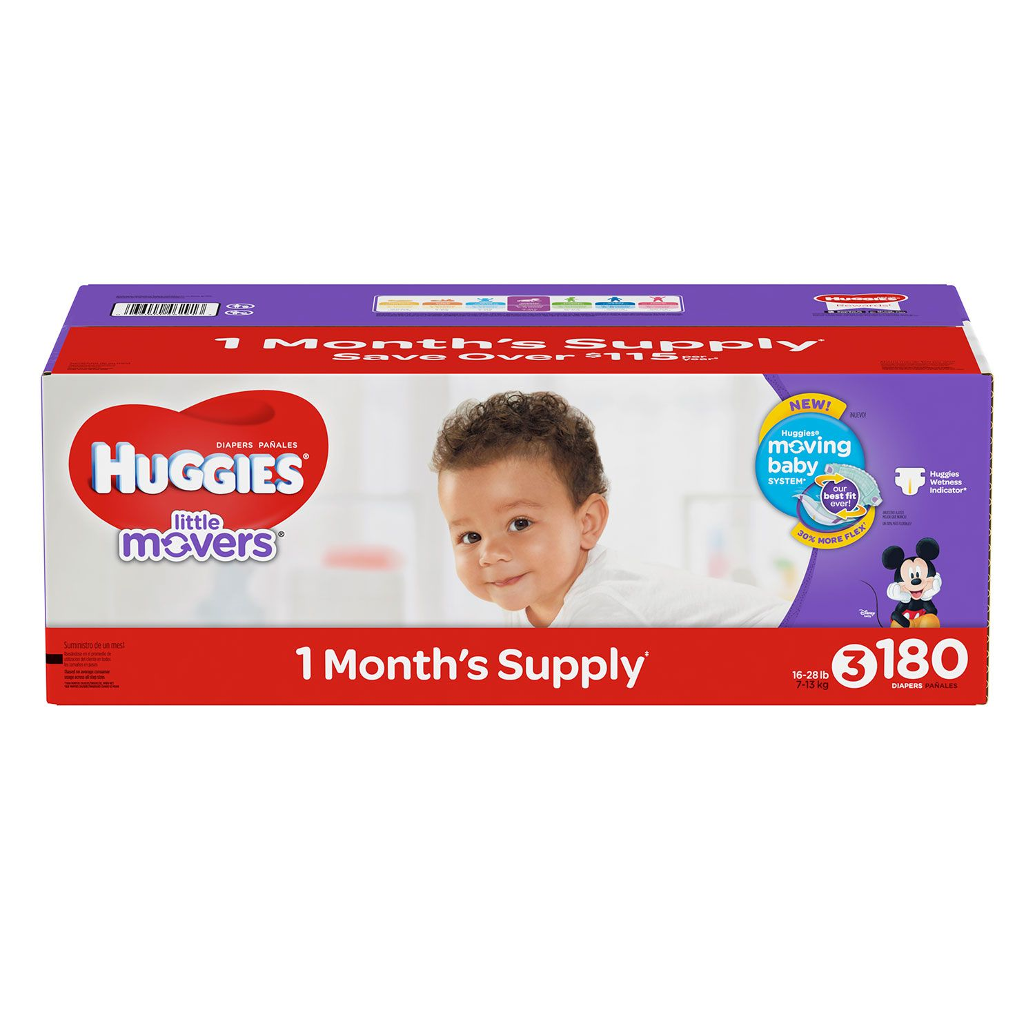 Huggies Little Movers Diapers (Size 3, 180 ct.)