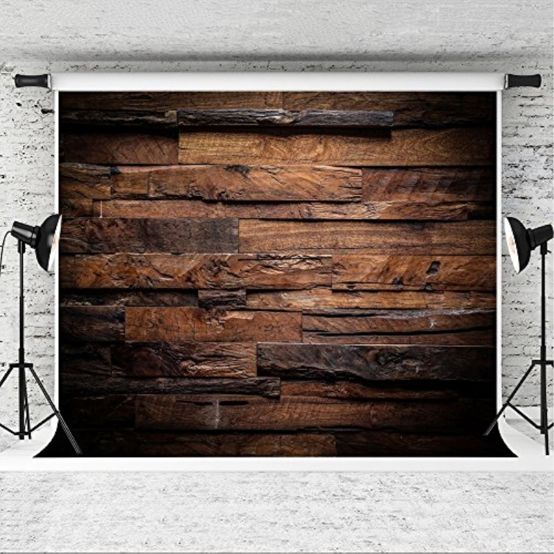 10x6.5 ft Seamlss Backdrop Brown Wood Photo Backgrounds Wood Wall No Wrinkle Photography Backdrops