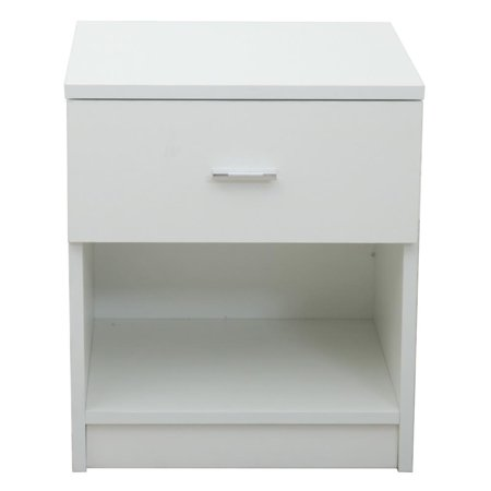 UBesGoo Bedside Cabinet Night Table Stable and Durable Metal Handle with Drawer White ()