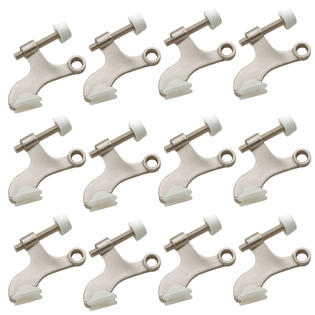 Satin Nickel Deluxe Hinge Pin Door Stop - 12 Pack