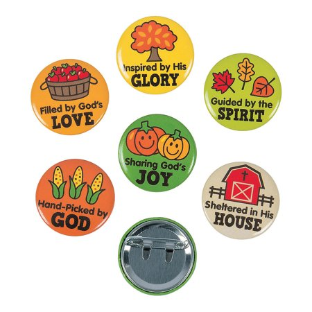 Fun Express - Faith Fall Market Mini Buttons for Fall - Jewelry - Pins - Novelty Buttons - Fall - 48 Pieces (Photo Button Pins)