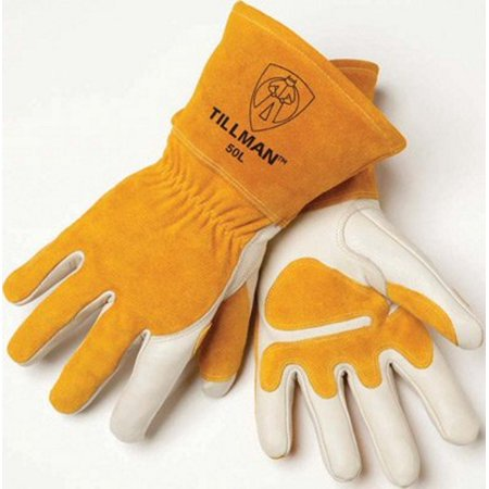 - Tillman X-Large 14'' Pearl Top Grain Side Split Cowhide Fleece Lined Premium Grade MIG Welders Gloves With Gauntlet Cuff, Seamless Index Finger And Elastic Back (Carded)