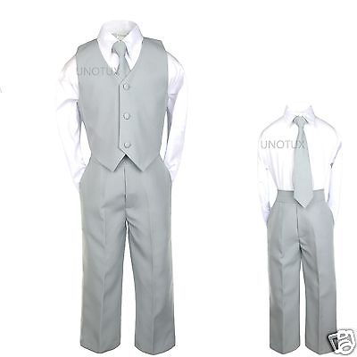 Baby Boys Toddler Teen Wedding Formal Party Vest Set Silver Gray Grey Suits S-20