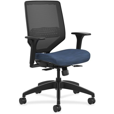 Hon Adjustable Arm Kit (HON Solve Mid-Back Task Chair, Black ilira-Stretch Mesh Back, Adjustable Lumbar Support, Adjustable Arms, Easy Assembly, Black Frame, Midnight Seat Fabric )