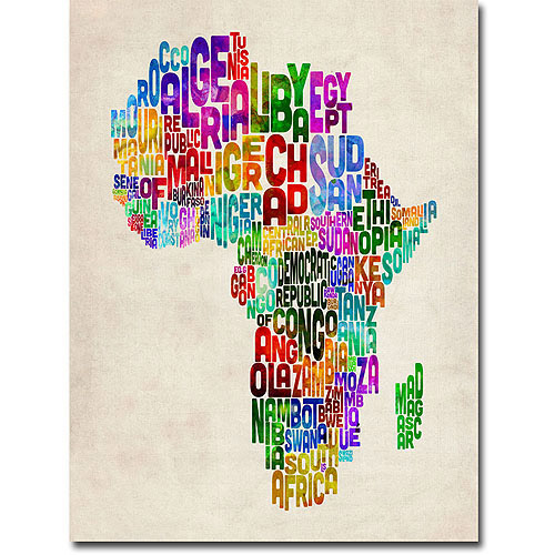 "Trademark Art ""Africa Text Map"" Canvas Wall Art by Michael Tompsett"
