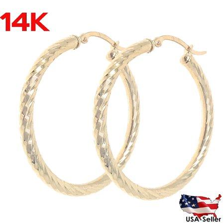 14k Real Yellow 100% Gold Hollow Diamond Cut Round Hoop Loop Earrings 1.65