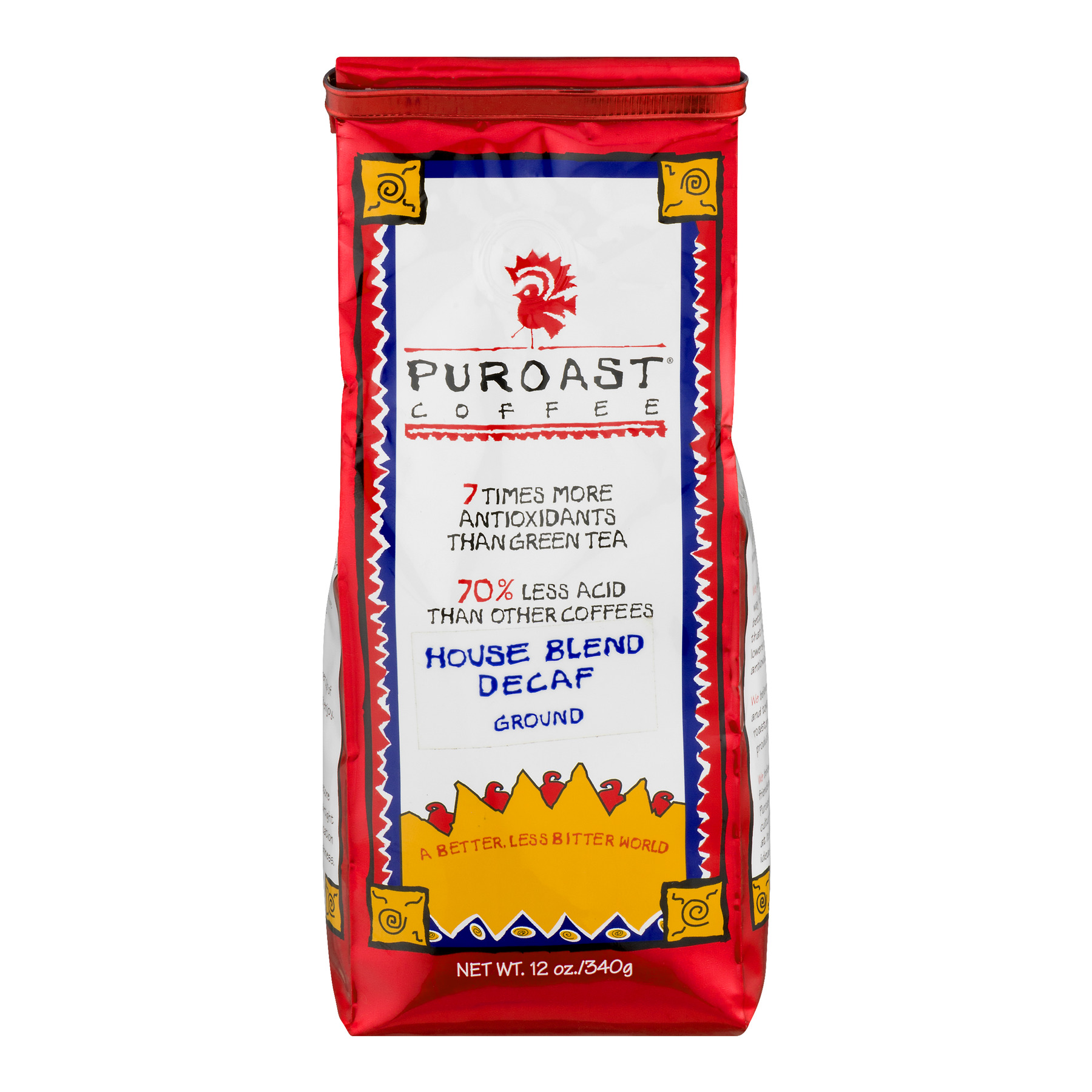 Puroast Coffee Ground House Blend Decaf, 12.0 OZ