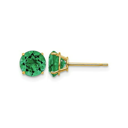 b68dd47789a41 6.00mm Lab Created Green Emerald Solitaire Stud Earrings in 14K ...