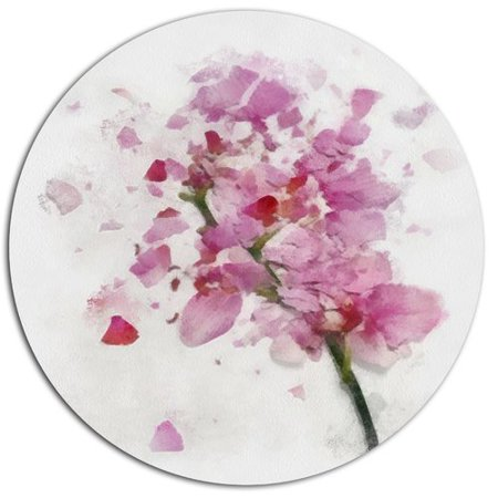Design Art 'Pink Flower with Falling Petals' Oil Painting Print on Metal