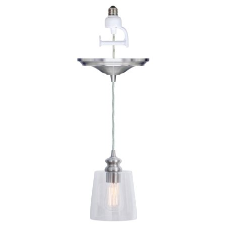 Nickel Beacon Pendant Lighting (Instant Pendant Recessed Light Conversion Kit Brushed Nickel Clear Glass Shade )