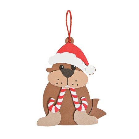 Fun Express - Peppermint Walrus Ornament CK-12 for Christmas - Craft Kits - Ornament Craft Kits - Foam - Christmas - 12