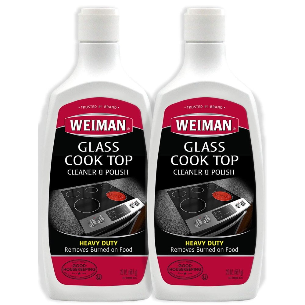 Weiman Glass Cook Top Cleaner and Polish - 20 Ounce (2 Pack) Heavy Duty Non-Scratch Glass ...