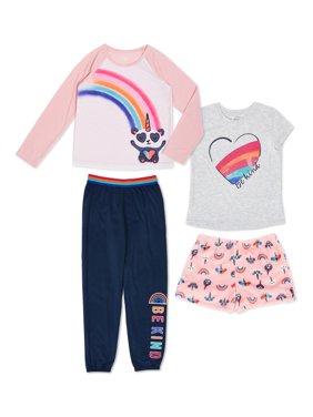 Wonder Nation Girls Exclusive Mix & Match 4-Piece Pajama Sleep Set Sizes 4-18 & Plus