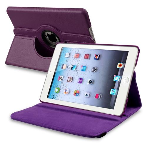 Insten 360-degree Swivel Leather Case For Apple iPad Mini 2 2nd with Retina Display / 3 3rd / 1 1st Gen, Purple Violet