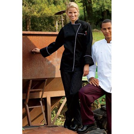 Uncommon Threads 4003-3307 Yarn Dyed Baggy Chef Pant in Black/White Pin Stripe - 3XLarge