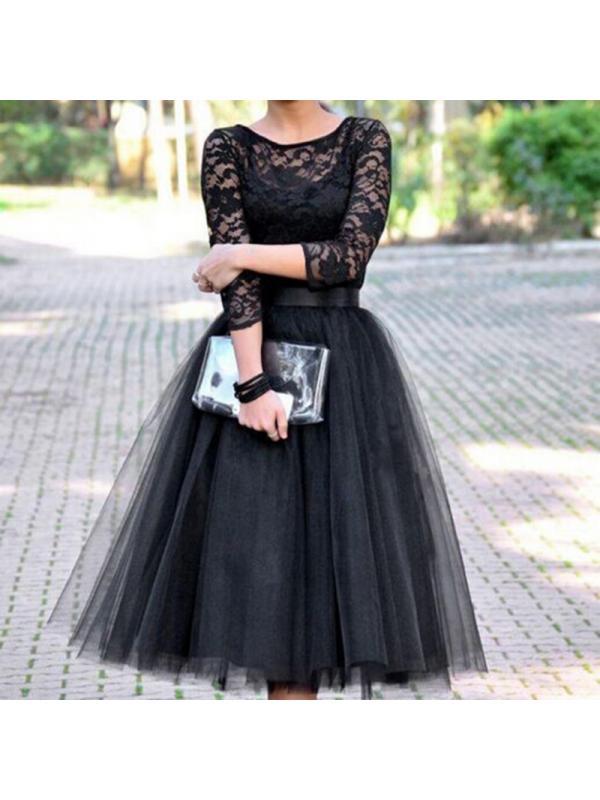 Topumt Topumt Black Tulle Evening Dress O Neck Long Sleeve Ball Gown Women Dress Walmart Com Walmart Com