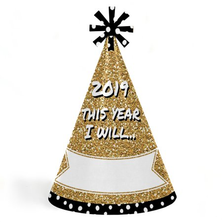 Pop, Fizz, Clink! - Cone 2019 New Year's Eve Resolution Party Hats for Kids and Adults - Set of 8 (Standard Size) (New Year Eve Hats)