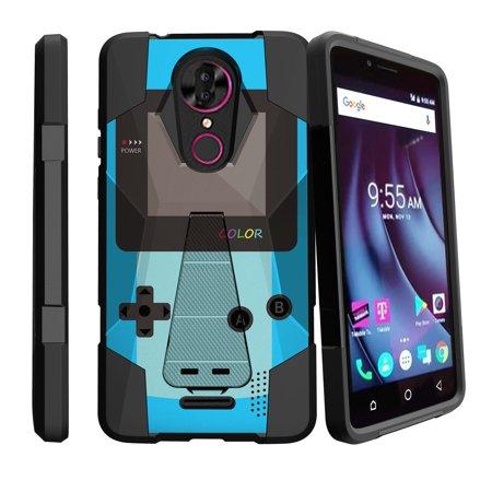 - Hard Shell Case for T-Mobile Revvl Plus [Shock Fusion Hard Shell & Silicone Bumper Case for CoolPad Revvl Plus 2017] Shock Resistant Case w/ Kickstand for Revvl Plus - Blue Game Color