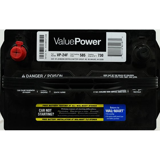 ValuePower Lead Acid Automotive Battery, Group 24F - Walmart com