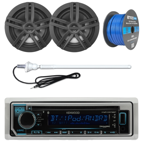 Kenwood KMR-D372BT Marine Boat Outdoor Bluetooth CD MP3 USB/AUX iPod iPhone Stereo Receiver 4X 6.5 Inch Dual Cone Enrock Marine Waterproof Speakers 50 Ft Marine Speaker Wire + Antenna (Chrome/Silver)