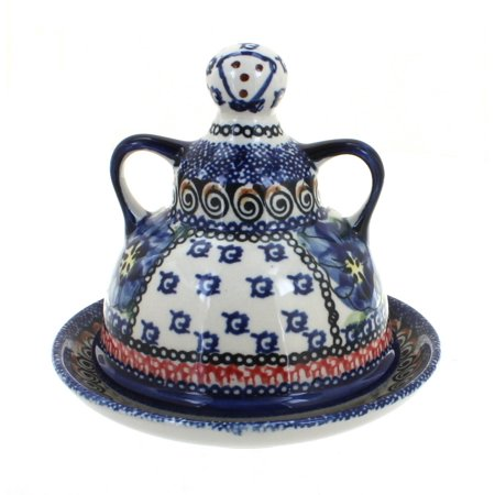 Polish Pottery Blue Art - Polish Pottery Blue Art Small Cheese Lady