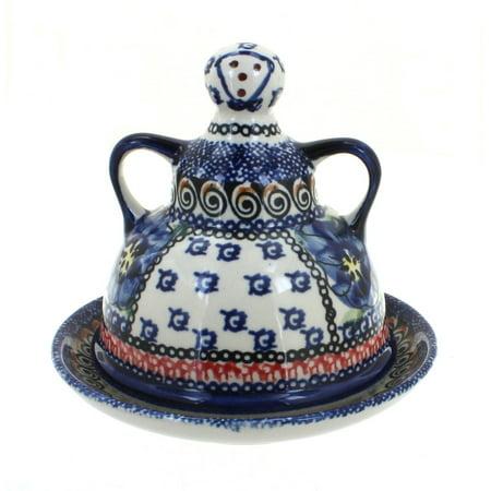 Polish Pottery Blue Art Small Cheese Lady