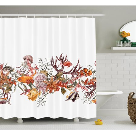 Ocean Life Shower Curtain Set Illustration With Fish Seaweed Starfish Coral Algae Jellyfish Sea
