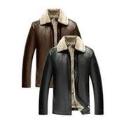 Men High Collar Fur Inner Warm PU Jacket