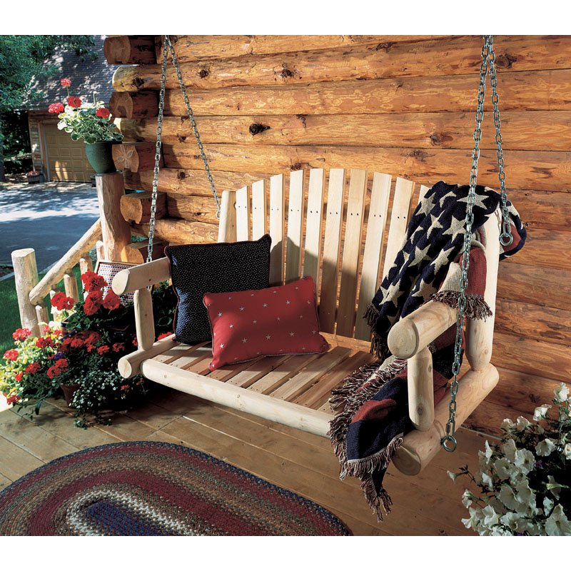 Rustic Natural Cedar Furniture 4 ft. Log Porch Swing by Porch Swings