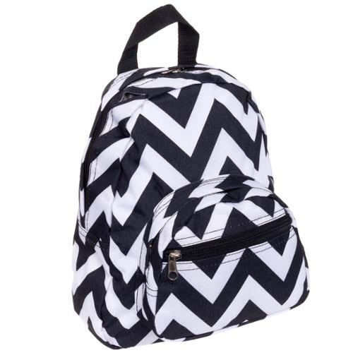 "11.5"" Chevron Print Mini School Travel Adjustable Backpack Bag (Black & White)"