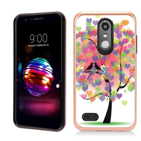 Case 2 Tone Hearts - Dual Layer Case for LG Aristo 2 / Aristo 2 PLUS / Tribute Dynasty , OneToughShield ® Hybrid Protective Phone Case with Brushed Texture (Rose Gold Tone) - Color Hearts Tree