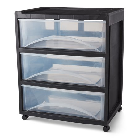 Mainstays Rolling Three-Drawer Storage Organizer Cart, Black/Clear
