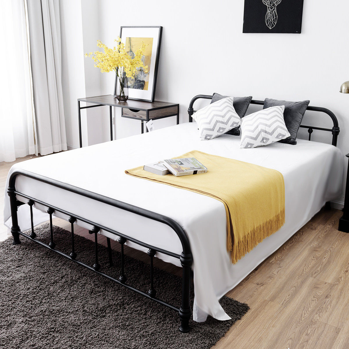 Queen Size Steel Bed Frame W Stable Metal Slats Headboard