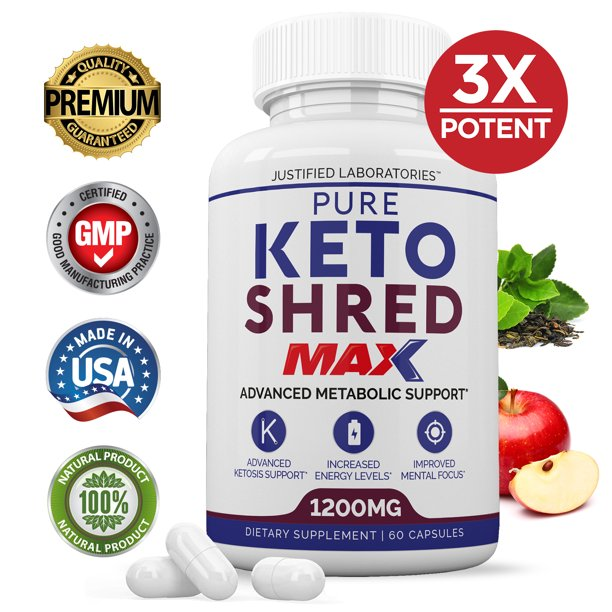 Pure Keto Shred Max 1200MG Keto Diet Pills BHB Salts Advanced Ketogenic Supplement Exogenous Ketones Ketosis Weight Loss Fat Burner Carb Blocker Appetite Suppressant Men Women 30 Day Supply