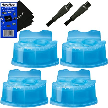 Ultra Series Ends (Braun Clean & Renew Refill Cartridges, Replacement Cleaner, Cleaning Solution (4 pack) for Series 3, Series 5, Series 7 & Series 9 + Double Ended Shaver Brush + HeroFiber Ultra Gentle Cleaning Cloth)